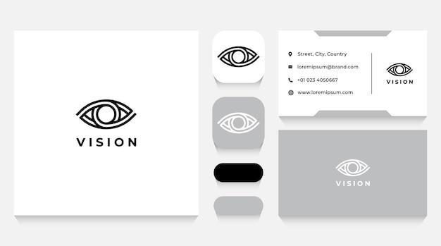 Modelo e cartão de visita do logotipo vision eye