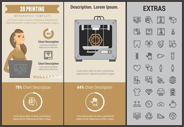 Modelo e elementos de impressão 3d infográfico