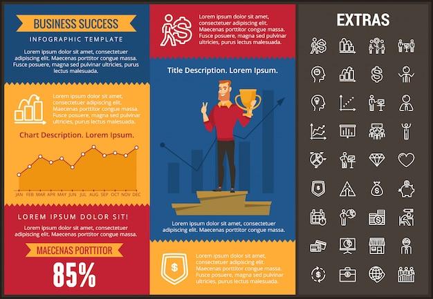 Modelo e elementos de infográfico de sucesso empresarial