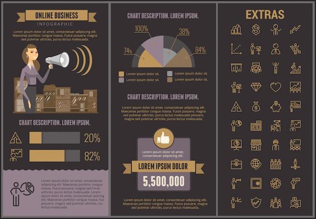 Modelo e elementos infographic do negócio em linha