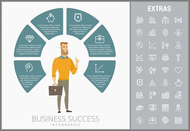 Modelo e ícones de infográfico de sucesso empresarial