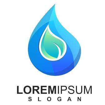 Modelo e logotipo de gota de água e natureza abstrata