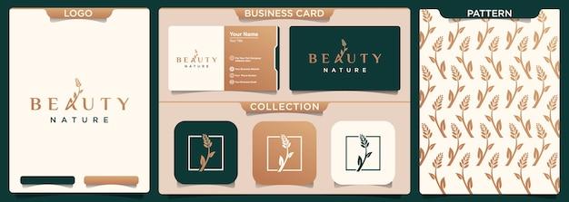 Modelo e padrão de design de logotipo de beleza nature