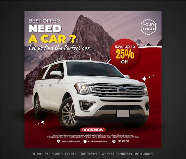 Modelo editável de banner de mídia social para aluguel de carros