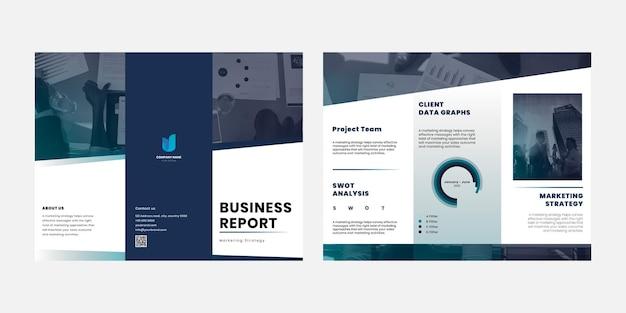 Modelo editável de brochura empresarial com três dobras