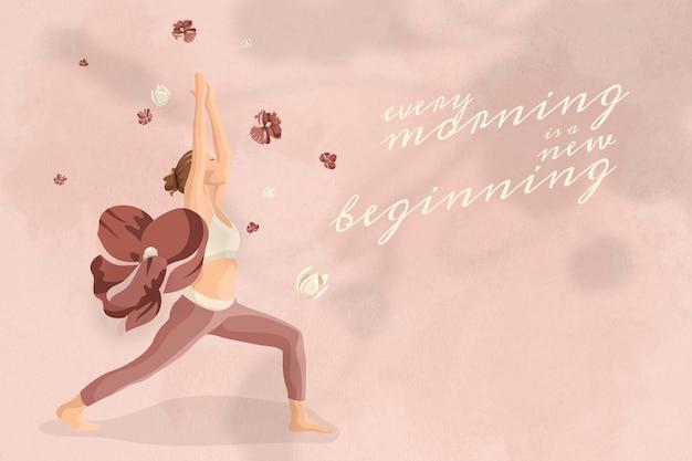 Modelo editável de citação motivacional vetor saúde e bem-estar ioga mulher banner floral rosa