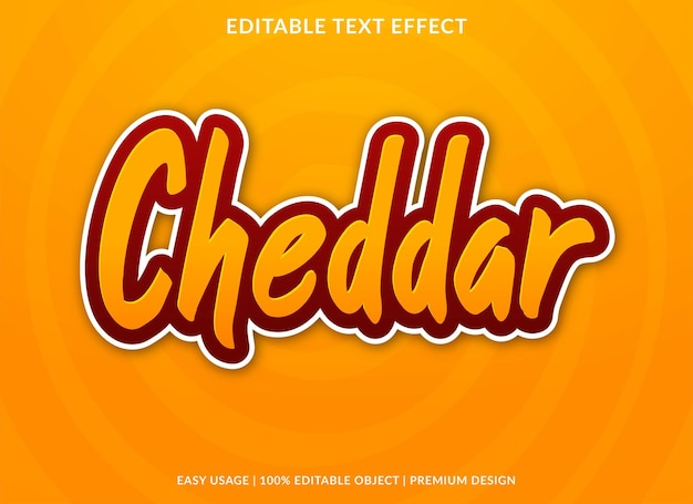 Modelo editável de efeito de texto cheddar vetor premium