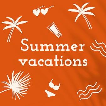 Modelo editável de férias de verão em postagem laranja nas redes sociais