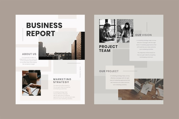 Modelo editável de folheto de relatório comercial