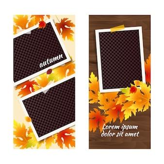 Modelo editável de histórias de redes sociais de outono com molduras de fotos e folhas caindo