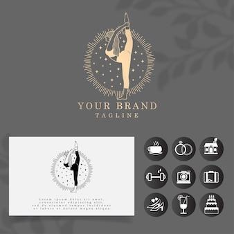 Modelo editável de logotipo de ioga de luxo