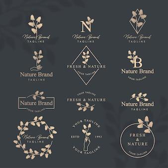 Modelo editável de logotipo floral