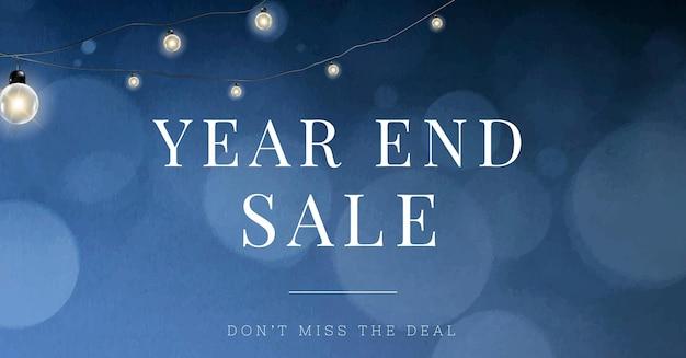 Modelo editável de mídia social de vetor de venda de final de ano com luzes de bokeh