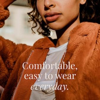 Modelo editável de moda confortável, fácil de usar todos os dias