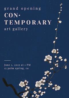 Modelo editável de pôster vetorial de flor de ameixa estilo japonês, remix de arte de watanabe seitei