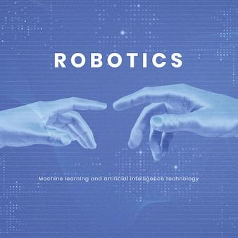 Modelo editável de tecnologia robótica inovação futurística em ia para postagem em mídia social