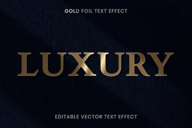 Modelo editável de vetor de efeito de texto de textura de folha de ouro