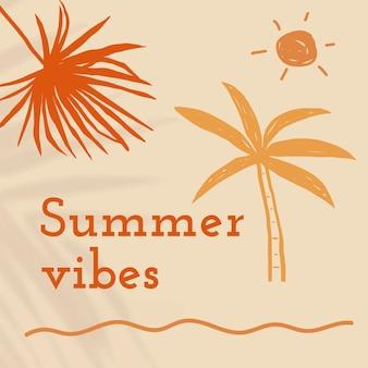 Modelo editável de vibrações de verão em postagem bege de mídia social