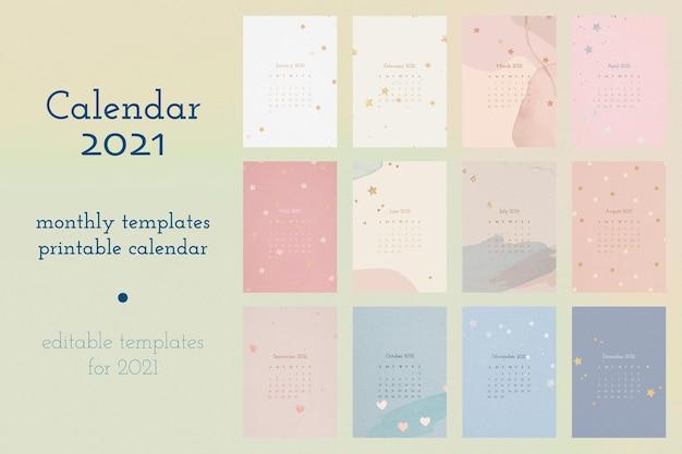 Modelo editável do calendário 2021 com conjunto de fundo aquarela abstrato