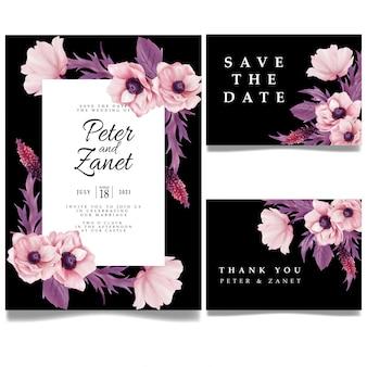 Modelo editável do cartão de visita do evento de casamento floral simples
