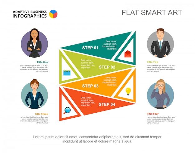 Modelo editável do gráfico de quatro etapas. infográfico criativo com triângulos