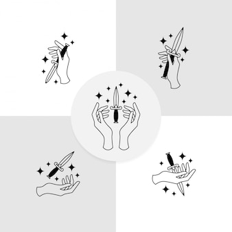 Modelo editável do logotipo da faca da mão boho design
