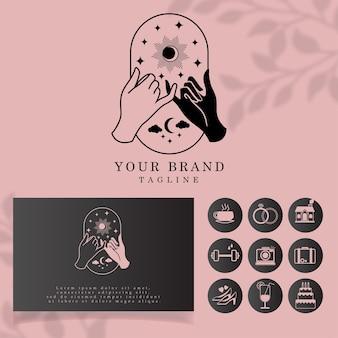 Modelo editável do logotipo da promessa da mão