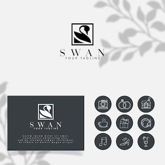 Modelo editável do logotipo do minimalista do cisne feminino
