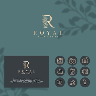 Modelo editável do logotipo do minimalista inicial r royal