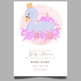 Modelo editável do recém-nascido do convite bonito do chuveiro de bebê cisne