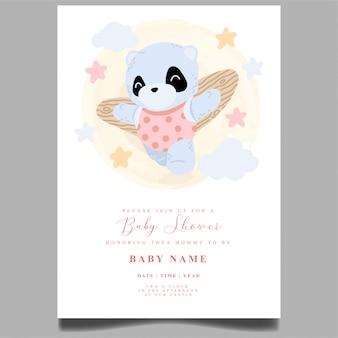 Modelo editável do recém-nascido do convite do chuveiro de bebê panda bonito