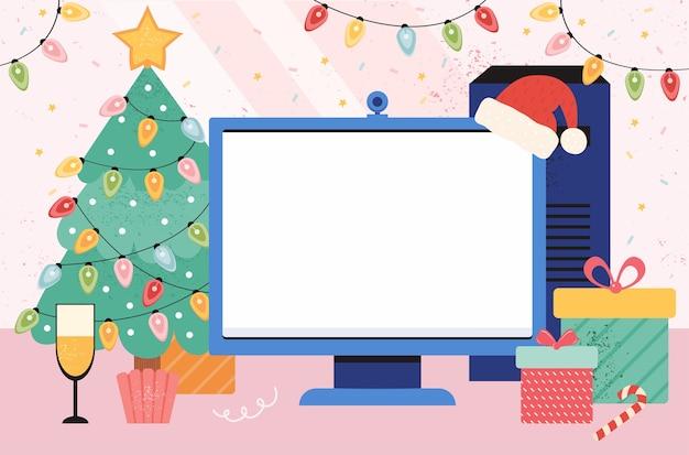 Modelo editável para ano novo e banners de natal, cartazes, saudações. o local de trabalho em casa é decorado em estilo de ano novo. itens de férias na área de trabalho aconchegante. tela em branco no monitor para seu texto