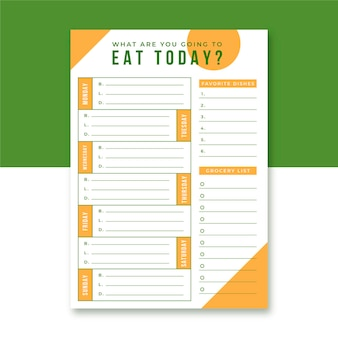 Modelo editorial do planejador de refeições