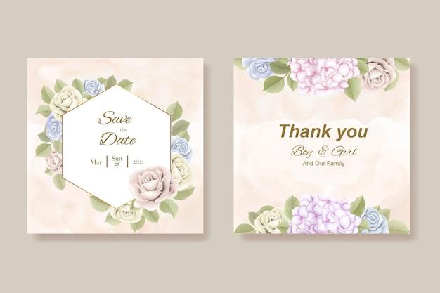 Modelo elegante de cartão de casamento