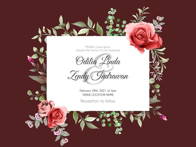 Modelo elegante de cartão de convite de casamento com rosas vermelhas