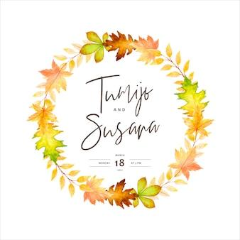 Modelo elegante de cartão de convite de casamento de outono