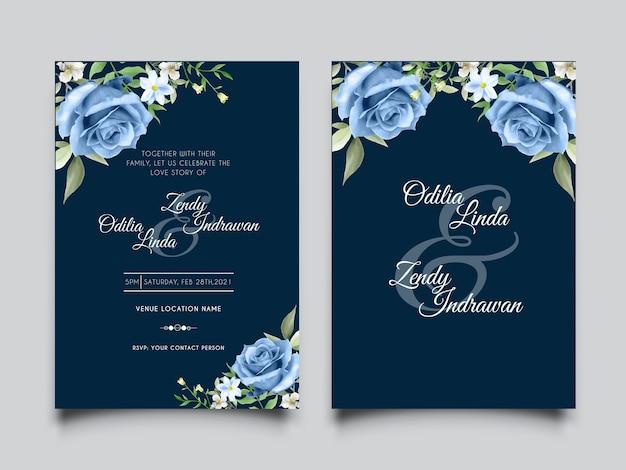 Modelo elegante de cartão de convite de casamento de rosas azuis royal