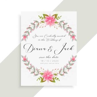 Modelo elegante de cartão de convite de casamento floral