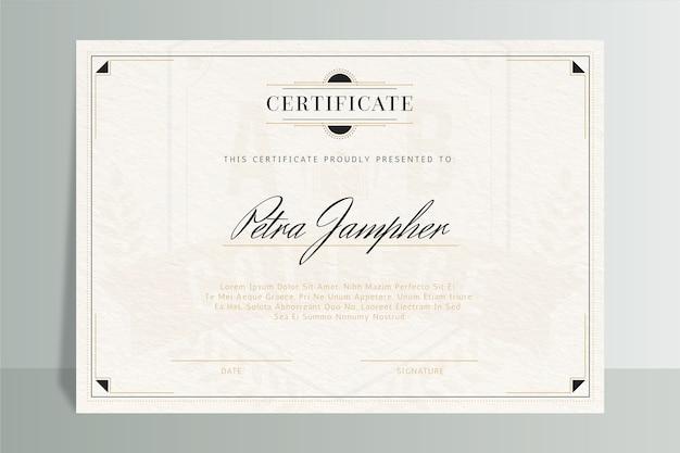 Modelo elegante de certificado com moldura
