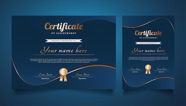 Modelo elegante de certificado de azul e ouro