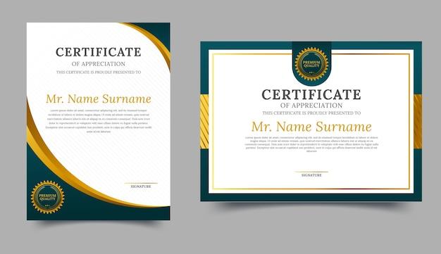 Modelo elegante de certificado de diploma verde e dourado