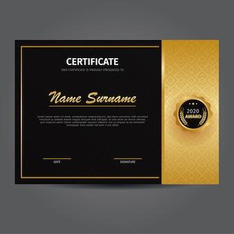 Modelo elegante de certificado de ouro