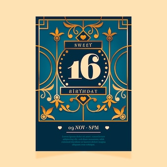 Modelo elegante de convite de aniversário