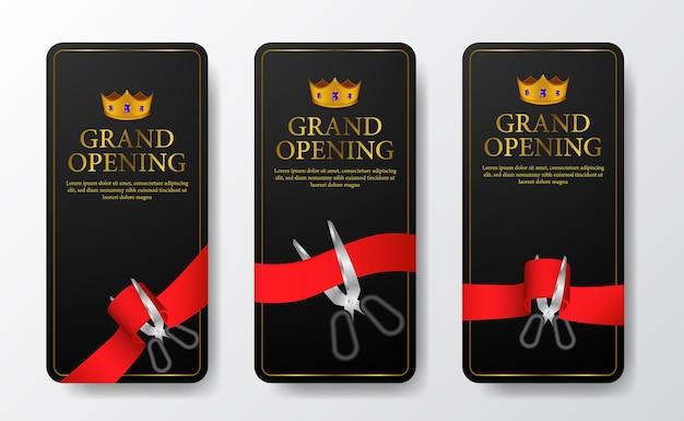 Modelo elegante de histórias de mídia social de grande inauguração com cor dourada e coroa e corte de fita vermelha com fundo escuro