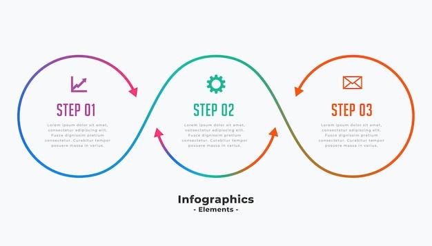 Modelo elegante de infográfico de negócios de três etapas