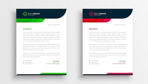 Modelo elegante de papel timbrado comercial nas cores verde e vermelho