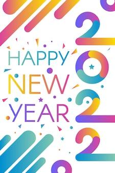 Modelo elegante feliz novo ano 2022 com texto em temas de cores gradientes brilhantes