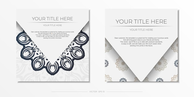 Modelo elegante para cartão postal de design de impressão cor branca com padrões vintage de azul escuro. preparando um convite com um ornamento grego.