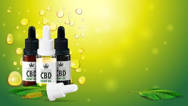 Modelo em branco com espaço de cópia, garrafas de óleo cbd com pipeta e folhas de maconha no fundo verde turva com bolhas de ouro de óleo de cannabis.