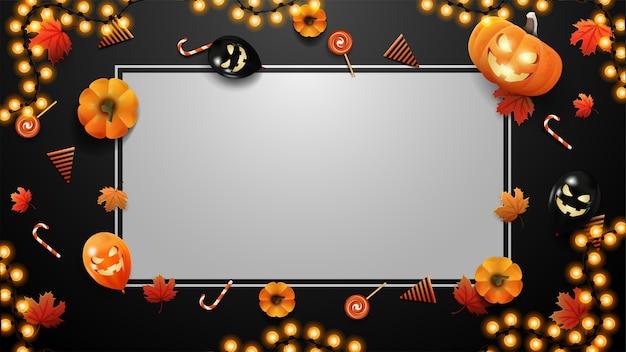 Modelo em branco de halloween para suas artes com espaço de cópia, abóboras, doces, balões, folhas de bordo e moldura de guirlanda. modelo preto brilhante de halloween